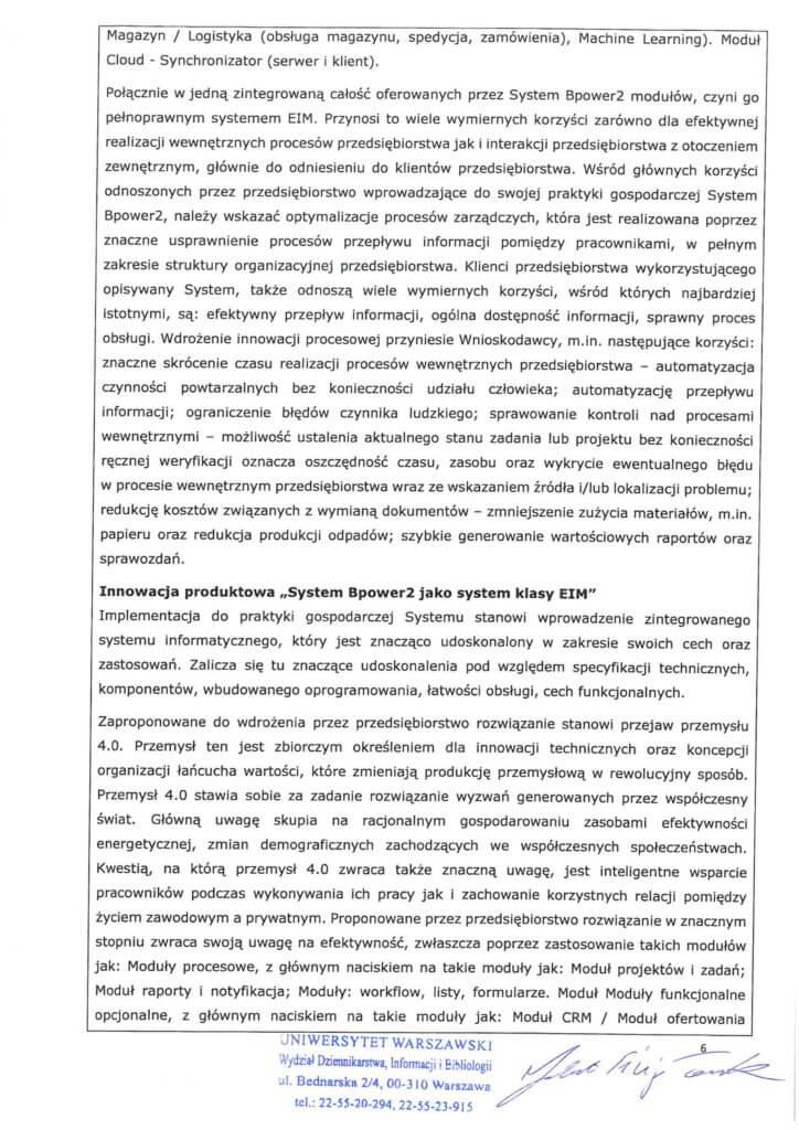 Bpower2 - opinia o innowacyjności